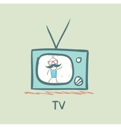 People on tv vector