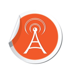 Wi fi icon orange sticker vector