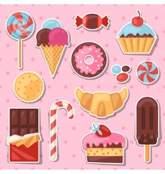 Set of colorful sticker candy sweets and cakes vector