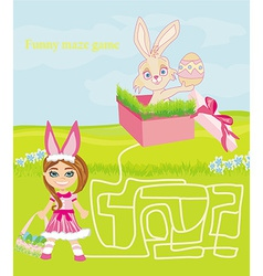 Maze game - sweet girl and easter bunny vector