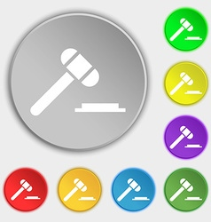 Judge hammer icon symbols on eight flat buttons vector