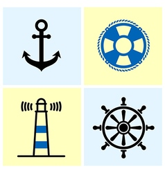 Nautical symbols set vector