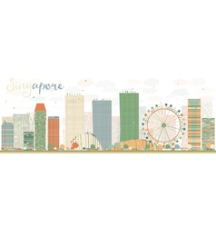 Abstract singapore skyline vector