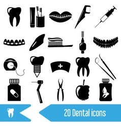 Set of dental theme black icons eps10 vector