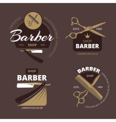 Color barber shop logo labels and badges vector image