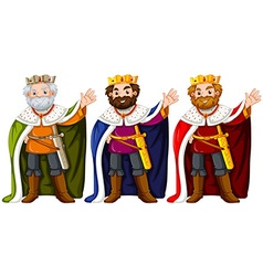 Three kings wearing crown and robe vector