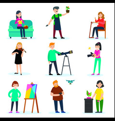 adult people hobbies set vector image vector image
