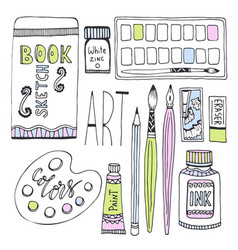 Art supplies for drawing sketches set with paints vector