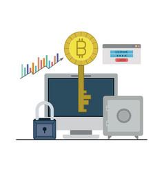 Bitcoin key login closeup with desktop computer vector