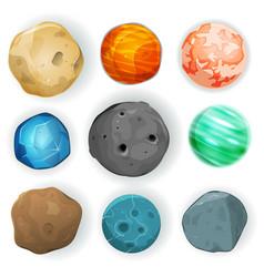 Comic planets set vector