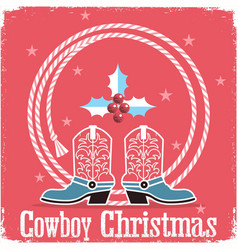 cowboy christmas card red background with western vector image vector image