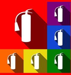 Fire extinguisher sign set of icons with vector