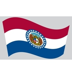 Flag of missouri waving on gray background vector