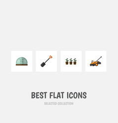 Flat icon dacha set of spade lawn mower vector