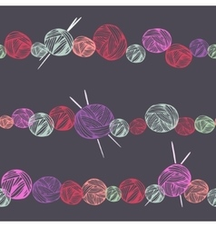 Hand drawn balls of yarn seamless pattern vector image