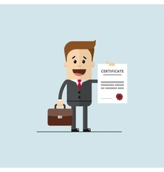 happy businessman or student with a certificate of vector image