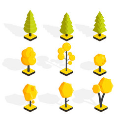 Isometric autumn trees set low poly vector