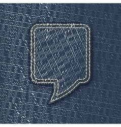 Jeans textured speech bubble vector image