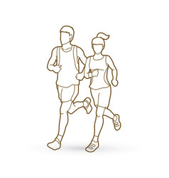 man and woman running together marathon runner vector image vector image
