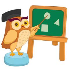 of cartoon owl teacher vector image vector image
