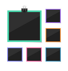 photo frames sticked with tape and hanged vector image vector image