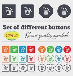 Recycle bin sign icon big set of colorful diverse vector