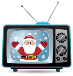 santa claus retro tv vector image vector image