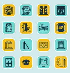 Set of 16 school icons includes e-study taped vector