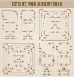 set of gold decorative borders frame vector image vector image