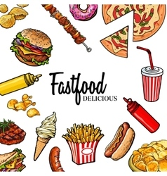 Sketch style hand drawn fast food frame vector image vector image