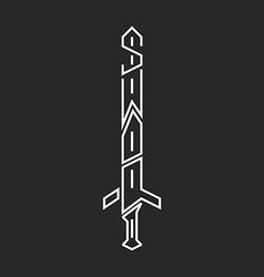 Sword logo hipster lettering graphic design thin vector