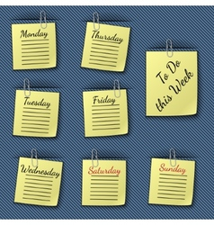 The week notes clipped to the blue drapery vector