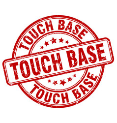 Touch base red grunge stamp vector