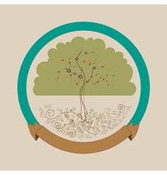 Trendy bright tree label design vector