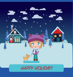 Winter landscape with beautiful cartoon chibi girl vector