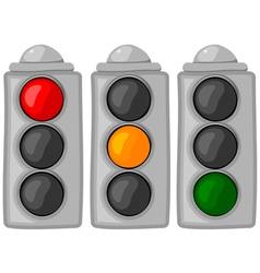 cartoon traffic lights set vector image