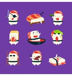 Humanized sushi character japan themed activities vector