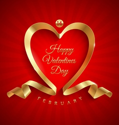 Valentines day greeting with golden ribbon vector image
