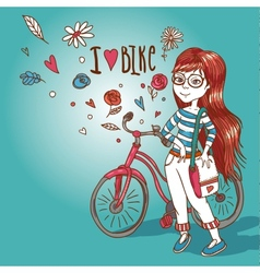 Young girl with a bicycle vector