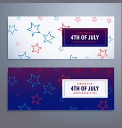 4th of july banners set in white and blue colors vector