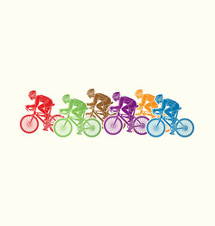 Group of bicycle riding sport men biking together vector