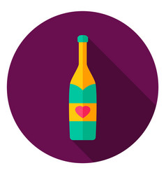 Champagne bottle circle icon vector