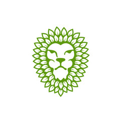 Lion head with green leaf vector