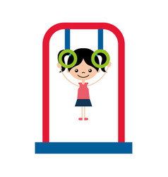 Cute girl in childish games character icon vector