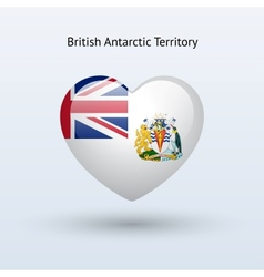 Love british antarctic territory symbol heart flag vector