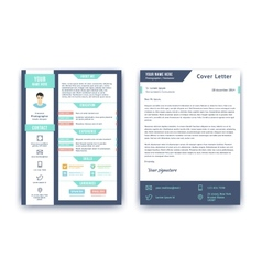 Resume and cover letter template vector