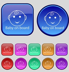 Baby on board sign icon infant in car caution vector