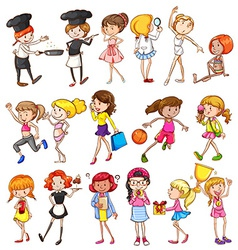 Different activities of girls vector