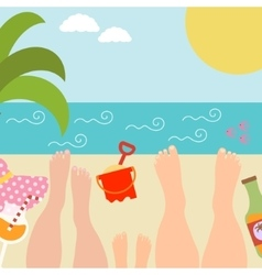 Summer background with with family at the seaside vector