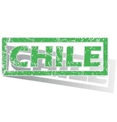 Green outlined chile stamp vector